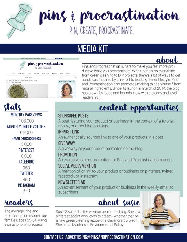 Pins and Procrastination Media Kit 2016 for blog