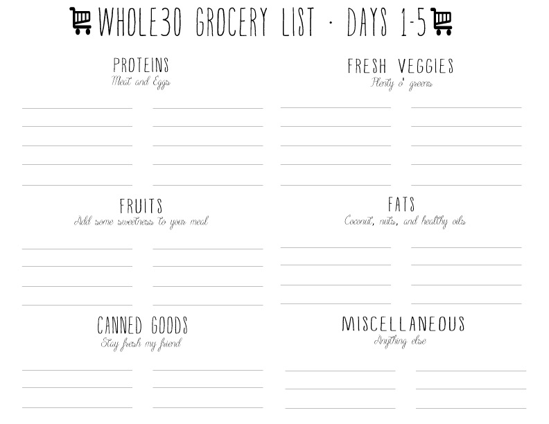 Are you busy planning and preparing for your whole30? These free printable planners will help you out a ton. Check out the free whole30 grocery list template and the whole30 meal plan template. The meal plan template fits your whole plan on ONE page.