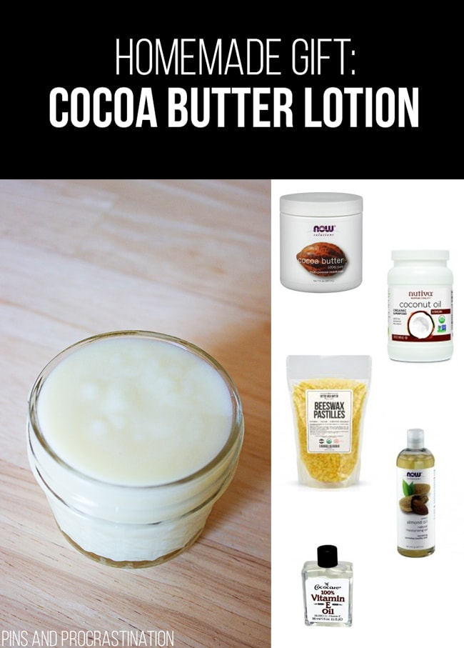Picking out gifts can be so difficult. That's why I love homemade gifts- they're easy to customize and they feel so personal, and they save you money! So it's really a win-win. This list of homemade gift ideas is perfect! This homemade cocoa butter lotion is a perfect gift.