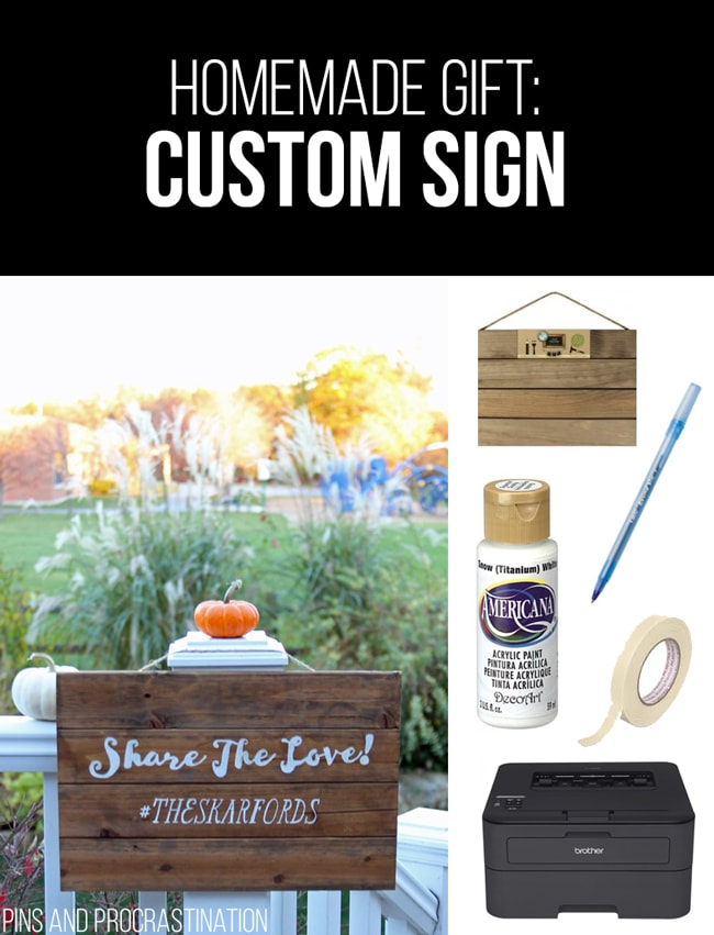 Picking out gifts can be so difficult. That's why I love homemade gifts- they're easy to customize and they feel so personal, and they save you money! So it's really a win-win. This list of homemade gift ideas is perfect! This DIY custom sign is a perfect gift.