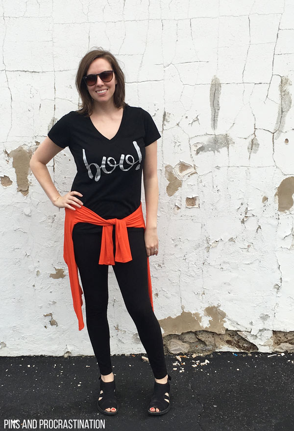 """I am loving this adorable DIY halloween shirt! This tutorial is so easy to follow, and the final product is adorable. Who says you need a full out costume to be festive? This fun """"boo"""" shirt is perfect for halloween, and you won't believe how easy it is to make!"""
