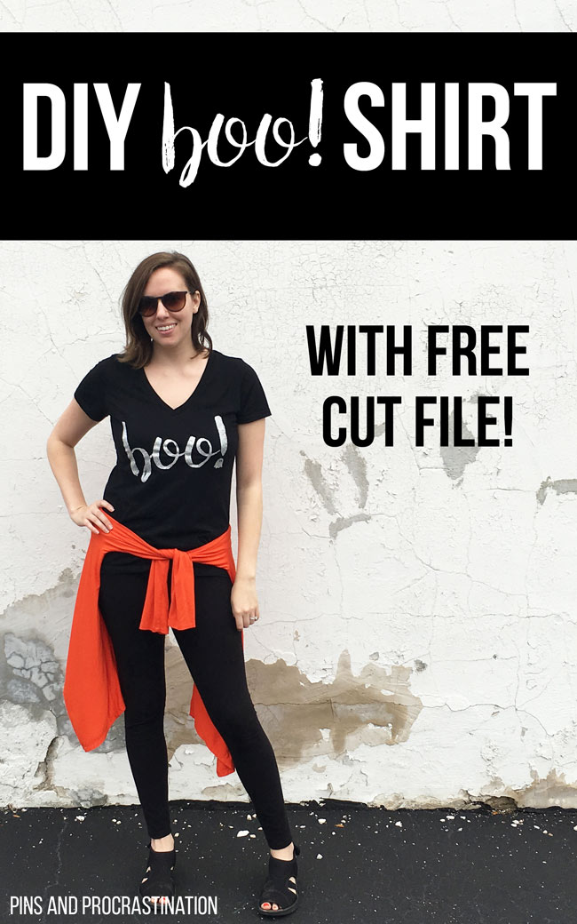"I am loving this adorable DIY halloween shirt! This tutorial is so easy to follow, and the final product is adorable. Who says you need a full out costume to be festive? This fun ""boo"" shirt is perfect for halloween, and you won't believe how easy it is to make!"