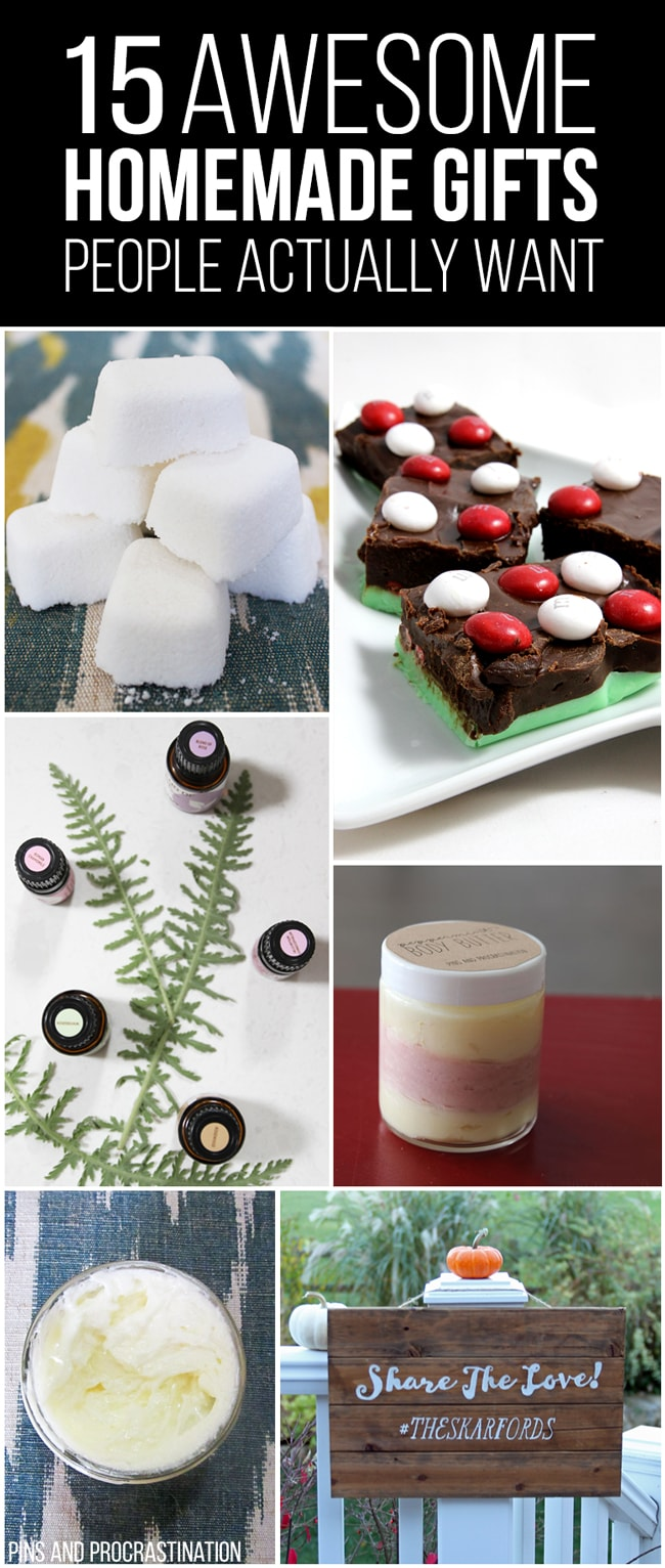 Picking out gifts can be so difficult. That's why I love homemade gifts- they're easy to customize and they feel so personal, and they save you money! So it's really a win-win. This list of homemade gift ideas is perfect! I've given out almost every single thing on the list as a gift, and with great responses to all. In fact I have yet to give #1 to a person and NOT have them ask me to make them more.