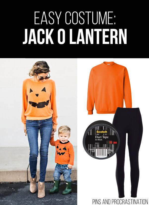Easy Last Minute DIY Halloween Costume: Jack O Lantern