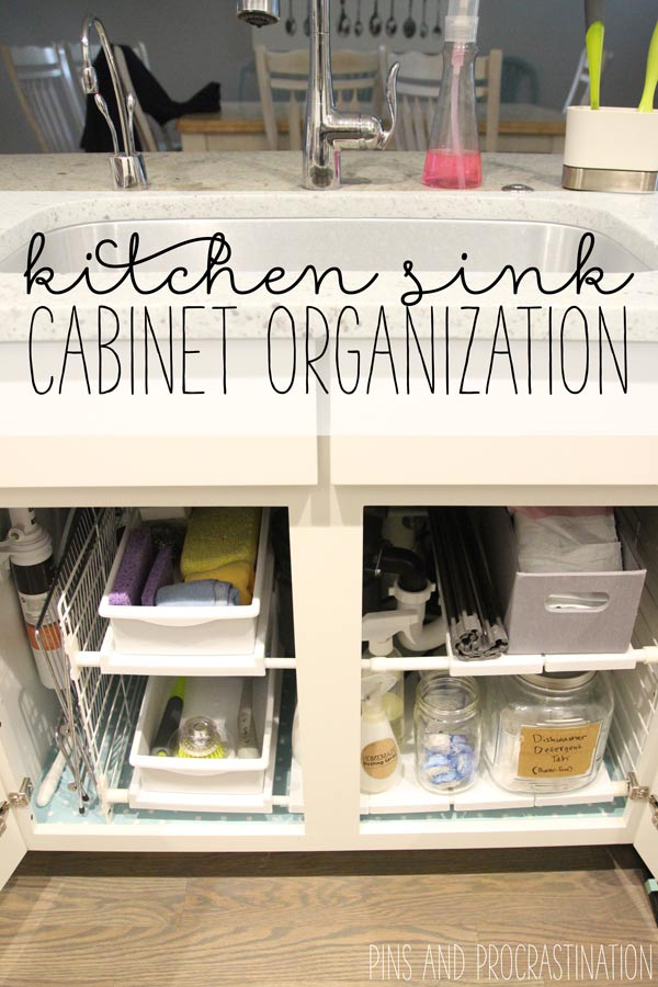 It's so easy to let the cabinet under your kitchen sink get messy. It just feels like too much work to get it together. There's so many things that you want to keep down there because it's so darn convenient, but the pipes and other things down there make it hard to store things without complete chaos. But I think I've got the solution!