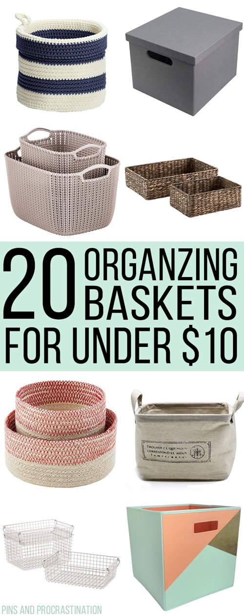 The secret to keeping my home organized is simple- lots of bins and baskets! I've acquired quite the collection of bins and baskets over the years. I've gotten good at spotting ones that are a good deal! So that's why I thought I would share these 20 awesome organizing bins and baskets are all adorable, and better yet, under $10 each!