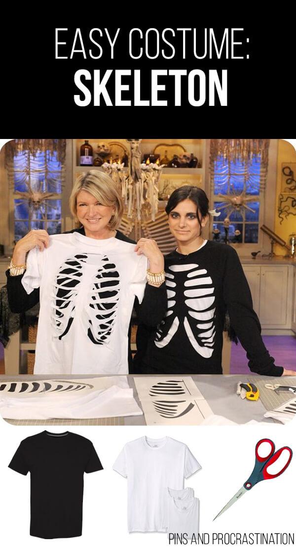 Easy Last Minute DIY Halloween Costume: Skeleton