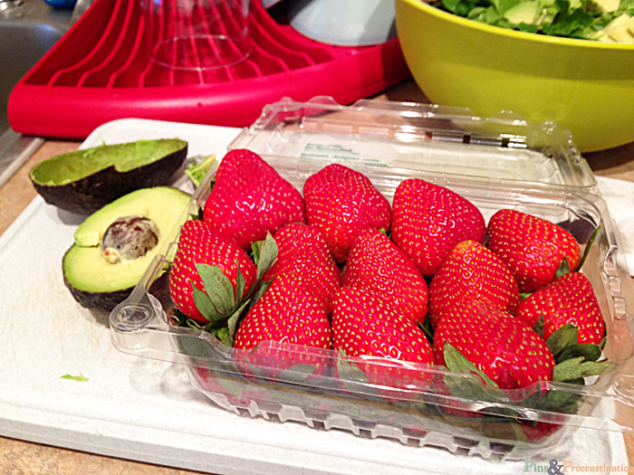Strawberries for Spinach goat cheese salad
